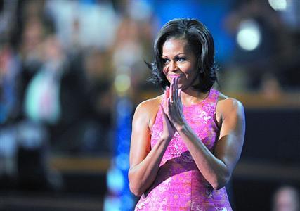 2012年9月4日,米歇尔在北卡罗来纳州夏洛特的民主党大会上发表演讲。