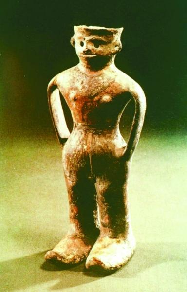 甘肃玉门出土的四坝文化人形陶器