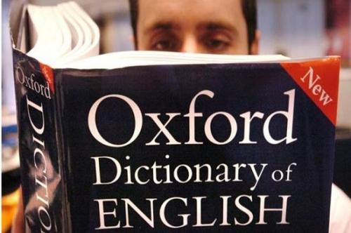 资料图:一名男子阅读《牛津词典》