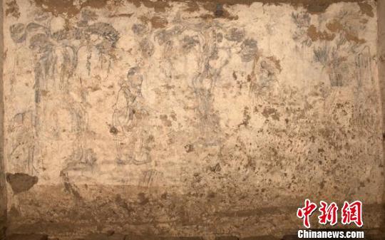 陕西关中西部发现唐代壁画墓为湿壁作画(图)