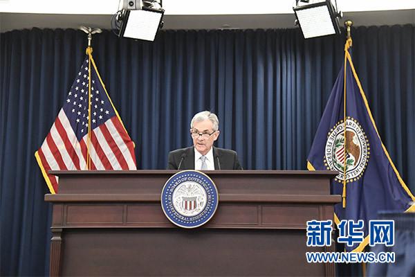 3月21日,在美国首都华盛顿,美国联邦储备委员会主席鲍威尔在新闻发布会上讲话。新华社记者 杨承霖 摄