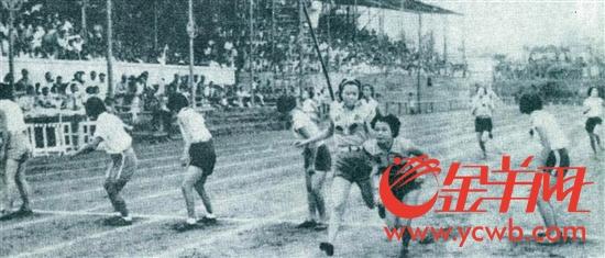 广东省第十四次运动会女子4×100米比赛场景