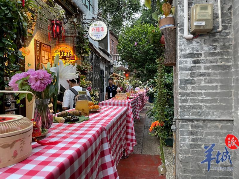 (视频)泮塘岭南古村的麻石巷中,50米的长约宴开席啦……